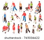 isometric set with disabled... | Shutterstock .eps vector #765036622