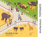 isometric zoo illustration with ... | Shutterstock .eps vector #765036652