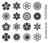 flower icons set on white... | Shutterstock .eps vector #765037006