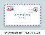 santa claus christmas mailing... | Shutterstock .eps vector #765044125