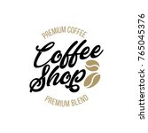 set of coffee hand written... | Shutterstock .eps vector #765045376