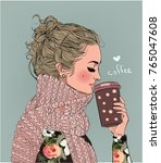 cute winter girl with coffee cup | Shutterstock .eps vector #765047608