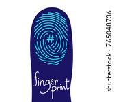 fingerprint scan on finger... | Shutterstock .eps vector #765048736