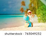 cute little girl travel on... | Shutterstock . vector #765049252
