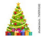christmas tree decorated with... | Shutterstock .eps vector #765053182
