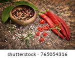 pepper  chili and herbs on...   Shutterstock . vector #765054316