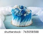 beautiful blue wedding cake... | Shutterstock . vector #765058588
