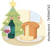 illustration of a panettone... | Shutterstock .eps vector #765064762
