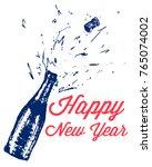 champagne bottle explosion....   Shutterstock .eps vector #765074002