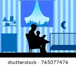 father reading his son a... | Shutterstock .eps vector #765077476