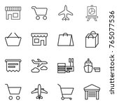 thin line icon set   shop  cart ... | Shutterstock .eps vector #765077536