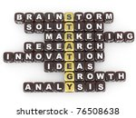 Conceptual image of strategy. Crossword fromblocks with letters. 3d - stock photo