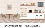 empty cafe interior. flat... | Shutterstock .eps vector #765088258