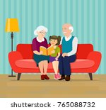 grandmother is reading a book... | Shutterstock .eps vector #765088732