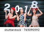 beautiful women in new year... | Shutterstock . vector #765090592