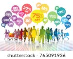 sale. colorful shopping crowd....   Shutterstock . vector #765091936