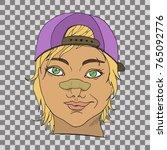 rude girl with broken nose.... | Shutterstock .eps vector #765092776