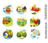 flat natural circle logo set... | Shutterstock .eps vector #765093532