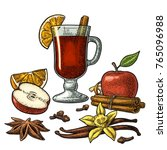 mulled wine with glass and...   Shutterstock .eps vector #765096988