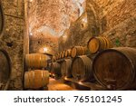 wooden barrels with wine in a... | Shutterstock . vector #765101245