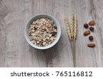 muesli with nuts hazelnuts ... | Shutterstock . vector #765116812