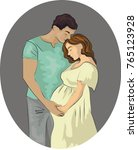 a pregnant woman with her...   Shutterstock .eps vector #765123928