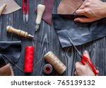 work in leather shop on dark... | Shutterstock . vector #765139132