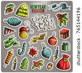 set of happy new year cartoon... | Shutterstock .eps vector #765144196