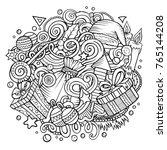 cartoon vector doodles new year ...   Shutterstock .eps vector #765144208
