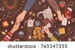 hands of people sitting around... | Shutterstock .eps vector #765147355