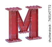 steel i beam font 3d rendering... | Shutterstock . vector #765147772