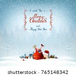 merry christmas and happy new... | Shutterstock .eps vector #765148342