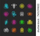 medical neon icon set  vector... | Shutterstock .eps vector #765159832