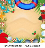 merry christmas and happy new... | Shutterstock .eps vector #765165085
