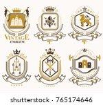 set of vector vintage elements  ... | Shutterstock .eps vector #765174646