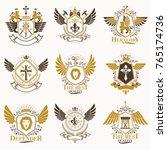 collection of vector heraldic... | Shutterstock .eps vector #765174736