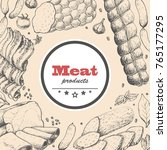 vector background with meat... | Shutterstock .eps vector #765177295