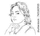 vector portrait of attractive... | Shutterstock .eps vector #765182935