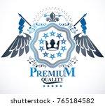 vector emblem  vintage heraldic ... | Shutterstock .eps vector #765184582