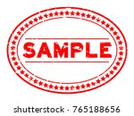 grunge red sample oval rubber