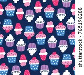 seamless colorful cupcake... | Shutterstock .eps vector #765196288
