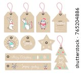 christmas tags set with cute... | Shutterstock .eps vector #765204886