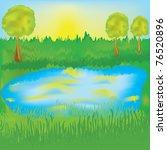 landscape with lake  sunrise ...   Shutterstock .eps vector #76520896