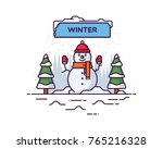 snowman winter vector... | Shutterstock .eps vector #765216328