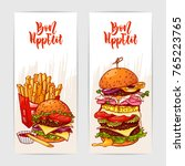two colorful banners with yummy ... | Shutterstock .eps vector #765223765