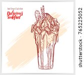sketched card with yummy... | Shutterstock .eps vector #765225052
