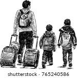 the father with his small... | Shutterstock .eps vector #765240586