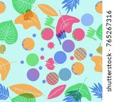 autumn theme  leaves  scribbles ... | Shutterstock .eps vector #765267316