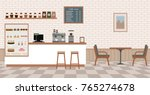 empty cafe interior with bar... | Shutterstock .eps vector #765274678