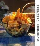 basket of fresh chanterelles  | Shutterstock . vector #765275866